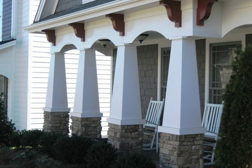 Tapered porch columns custom pvc column wraps for Wrap around porch columns